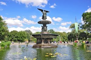 A photo of the Bethesda Fountain in Central Park, New York.