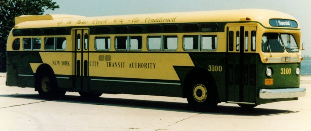 Bus #3100, 1956. From New York Transit Museum Collection.