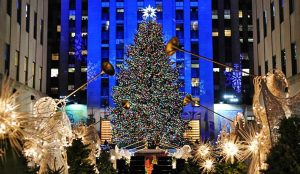 A photo of a Christmas tree in NY City.