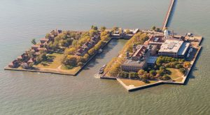 Photo of an aerial view of Ellis Island, New York