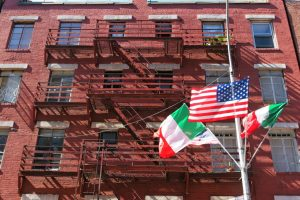 Little italy red building with flags nyc