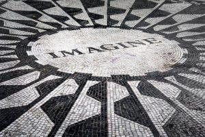 A mosaic that says Imagine.