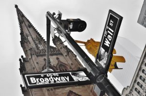 Street sign for Wall and Broadway - Trinity Church