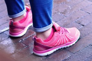 pink walking shoes