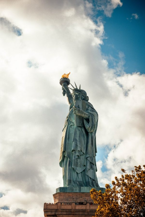 statue of liberty in the fall